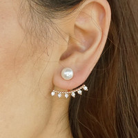 Pearl and Crystal SET OF 3 Interchangeable Mix and Match Pave Ball Ear Jackets Earrings