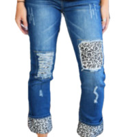 Patched Jeans in Snow Leopard.