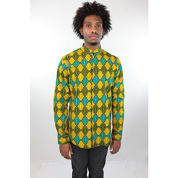 African Print Mens Shirt Button-Up Yellow Green and Blue Shirt