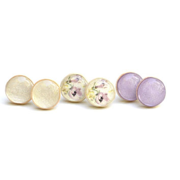 Lavender summer studs earring set post earrings eco friendly floral jewelry wood jewelry etsy wood earrings shabby chic jewelry eco fashion