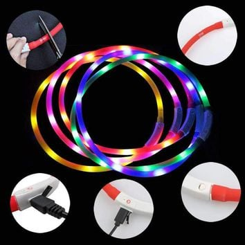70cm USB Silicone Pets Supplies LED Pet Dog Luminous Collar Adjustable Lighting Glow Dogs Leash Night Safety Harness Collars