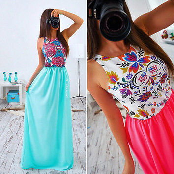 Women Loose Sundress Maxi Long Dress Floral Print Summer Sleeveless Tank Dress Femme Vestidos