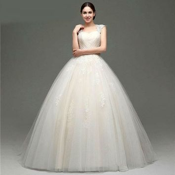 Lace Appliques Cap Sleeve Ball Gown Wedding Dress with Bow Beaded Sash Floor Length Lace-up Back Wedding Gown