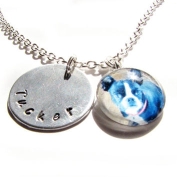 Pet Necklace Personalized Your Dog Cat Hand Stamped and Glass Pendant Photo Gift Birthday