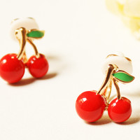 Small red cherry earrings