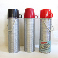 set of 3 Retro silver and black / red THERMOS containers for Your Lunch Box / coffee mugs or soup carriers