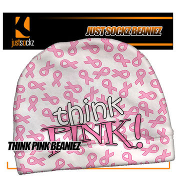 THINK PINK Custom Beanie skiing snowboarding pink ribbon breast cancer awareness