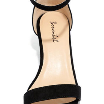 Babe Squad Black Suede Heeled Sandals