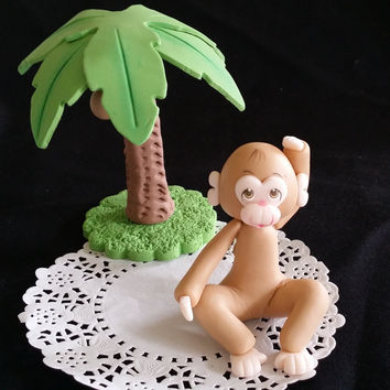 Baby Monkey Cake Topper, Monkey Shower Party Decoration, Jungle Monkey Cake Topper, Baby Monkey, Monkey Favor, Jungle Party Decoration, Monkey Decoration