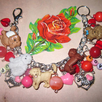 Valentine's Day Dog Charm Bracelet Jewelry Puppy Love by Jynxx