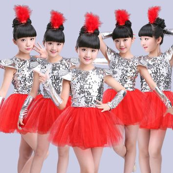 childrens girls dance costume sequin dress jazz dance modern dance costumes for kids dance dress for girls