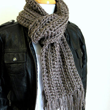 Gray Handknit Scarf - Taupe Scarf - Mens Scarves - Womens Crochet Scarf