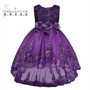 Candy Colors Cute Girls Pageant Dress Princess Cheap Lace Flower Girl Dresses 2017 Sequin Bow Bridesmaid Wedding Party Dresses