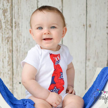 Little Man Fourth of July applique tie Onesuit, Independence day, 4th of July patriotic outfit, Newborn baby child toddler