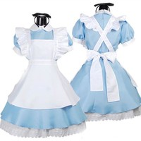 Sexy Maid Costume Alice in Wonderland Anime Cosplay Costume Suit Sweet Gothic Lolita Dress Women Girls Halloween Play Costumes