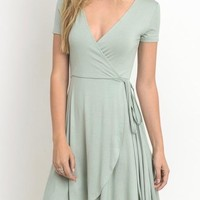 faux wrap short dress - sage