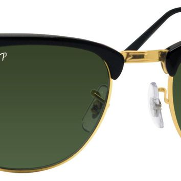 Ray Ban RB3016 901 clubmaster black frame green polarized lens sunglasses new