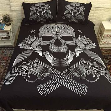Cool 3D Sugar Skull Cool Bedding Sets Comforter Bed Cover Homemade Bedspread Duvet Cover Set Queen King Size Bedding Double Bed SheetAT_93_12