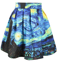 Van Gogh Starry Night Skirt Sexy Retro Vintage Digital Print