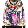 Roaring Tiger Print Zipper Up Sweater