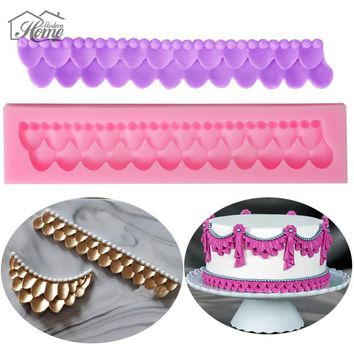 Border Embossing Silicone Mold Fondant Cake Decorating Tools Chocolate Gumpaste Moulds Sugar Craft Kitchen Gadgets Decoration