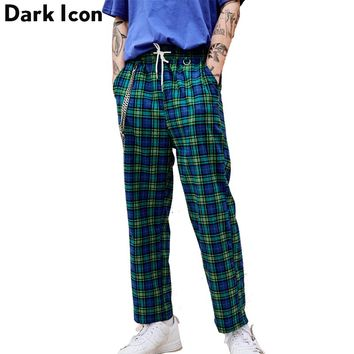 Elastic Waist Flannel Plaid Pants Men with Chain High Street Men's Pants