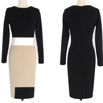 Sexy Women Long Sleeve Slim Bodycon Clubwear Party Cocktail Evening Pencil Dress