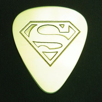 Superman  Brass Guitar Pick by ColemanCustomPicks on Etsy