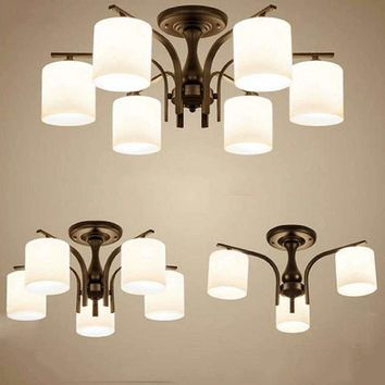 Modern Iron Ceiling mounted chandeliers Luster Lamps North European Vintage metal living room dinning room kitchen lamp fixture