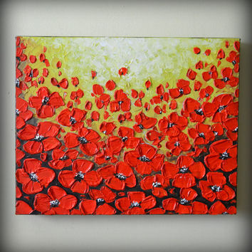 ORIGINAL Modern Art, Abstract Landscape, Heavy Textured Impasto, Red Poppies Painting 16 x 20 Mothers day gift