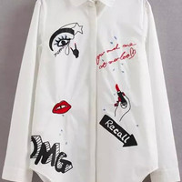 White Graffiti Print Long Sleeve Blouse