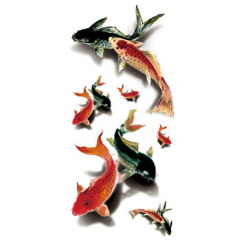 "3D Koi Fish High Quality Water Transfer Waterproof Temporary Tattoo 3 1/2"" x 7 1/2"""