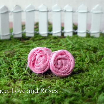 Pink Fabric Rosette Earrings by PeaceLoveAndRoses on Etsy