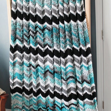 Afghan - Handmade Ripple Crochet Blanket - Black, Grey, and Teals