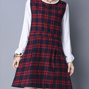 Streetstyle  Casual Plaid Patchwork Cotton/Linen Shift Dress