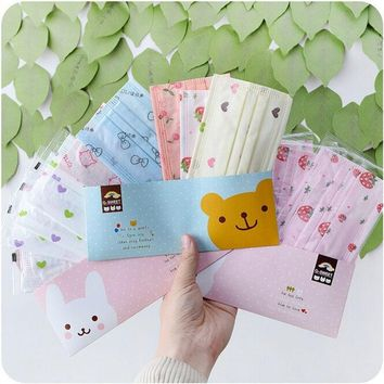 10X Lovely Candy Color Non-woven Disposable Dust Ear Loop Medical Flu Mouth Mask (Color: Multicolor)