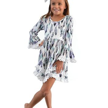 Lace Trim Kids Feather Dress