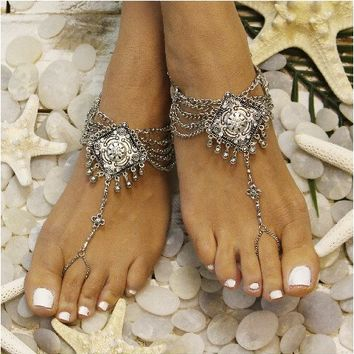 DREAM - barefoot sandals - antique silver (ooak)