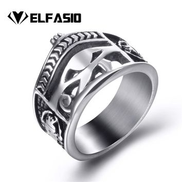 Men Stainless Steel Rings Egyptian Eye of Horus Crown Cross of Life Ankh Scarab Symbol Vintage Jewelry