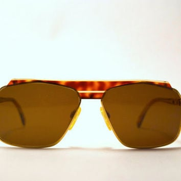 Vintage 80s CAZAL 730 Brown Tortoise Shell and Gold Tone Sunglasses.