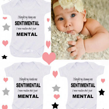 Nutter or Nanny spoils me or I'm cute mum's cute  dad's lucky etc1 x bodysuit or 2 x white bibs or 1 T-shirt