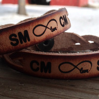 Braided Genuine Cowhide Leather Bracelet Set of 2--Initials or Short Names engraved on both and INFINITY LOVE symbol between