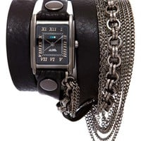Women's La Mer Collections 'Carerra' Leather & Chain Wrap Bracelet Watch, 22mm x 30mm - Black/ Gunmetal