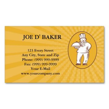 Business card Chef Baker Cook With Platter