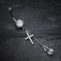 Mini Cross Shimmer Belly Ring