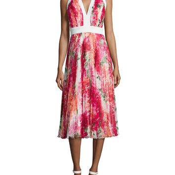 Pleated Floral-Print Halter Dress, Bougan, Size: