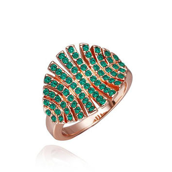 Rose Gold Plated Open Cut Emerald Leaf Branch Ring