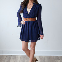 To The Nines Belted Dress - Navy