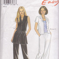 Easy sewing pattern for button front tunic or top, camisole, pull on pants misses size 10 12 14 16 18 20 22 New Look 6875 UNCUT