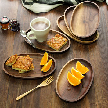 Creative Oval Black Walnut Bread Dish Tray Japanese Style Handmade Solid Wooden Plates